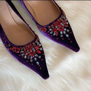 Prada Purple Velvet Kitten Heels w Colorful Stones